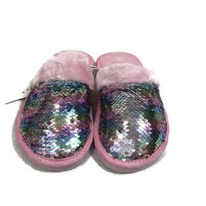 Ladies pink faux fur and sequin slippers small